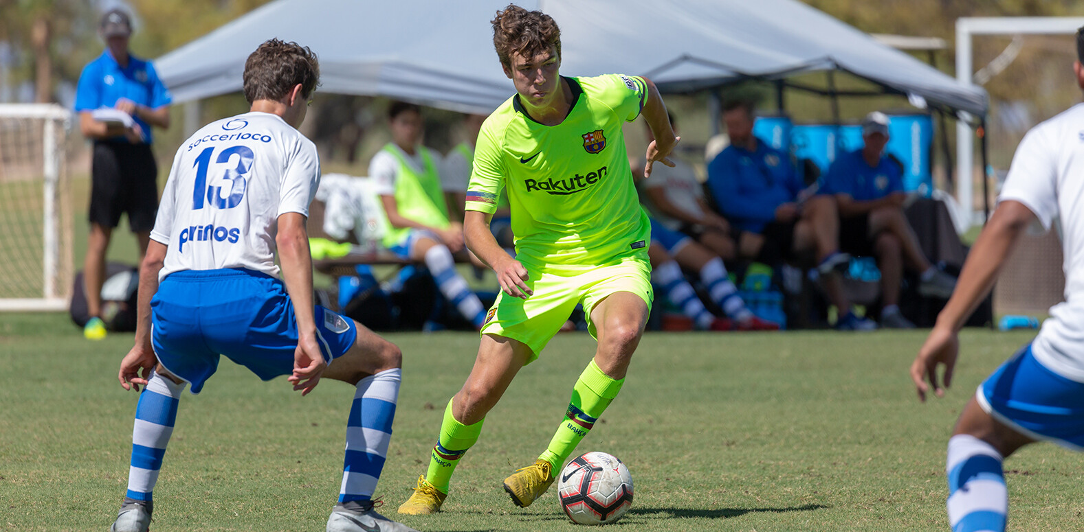 Barca Residency Academys Matthew Hoppe on his was to a goal