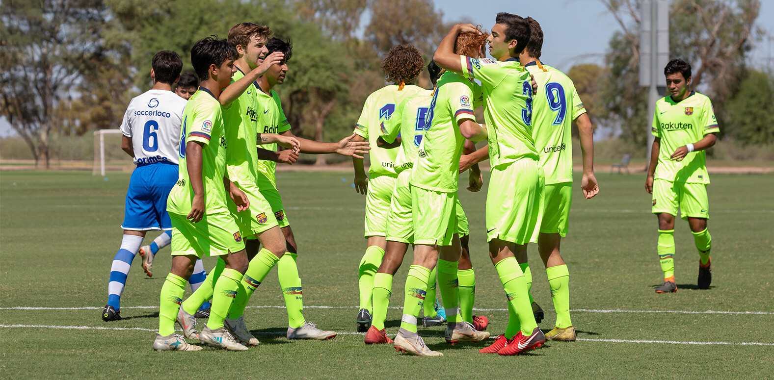 Barça Residency Academy U-19s celebrating a goal vs. Albion SC