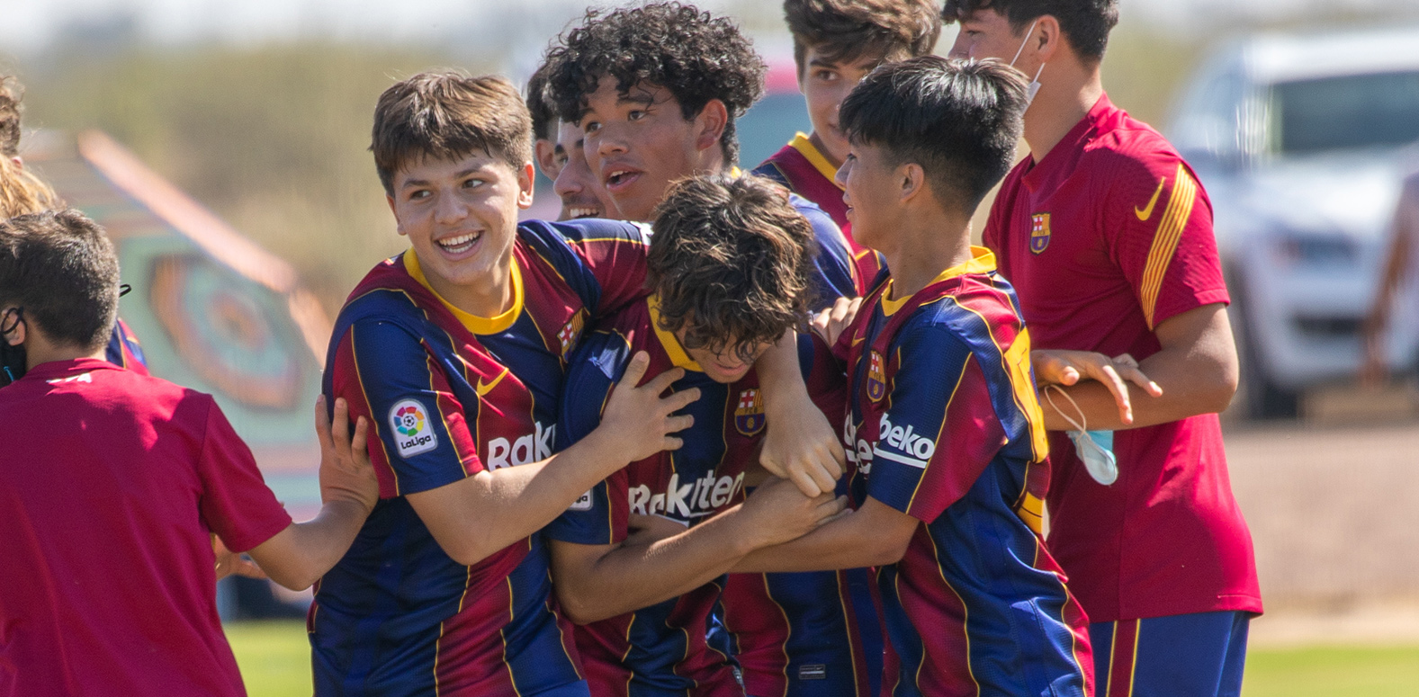Barca Residency Academy players celebrating a goal