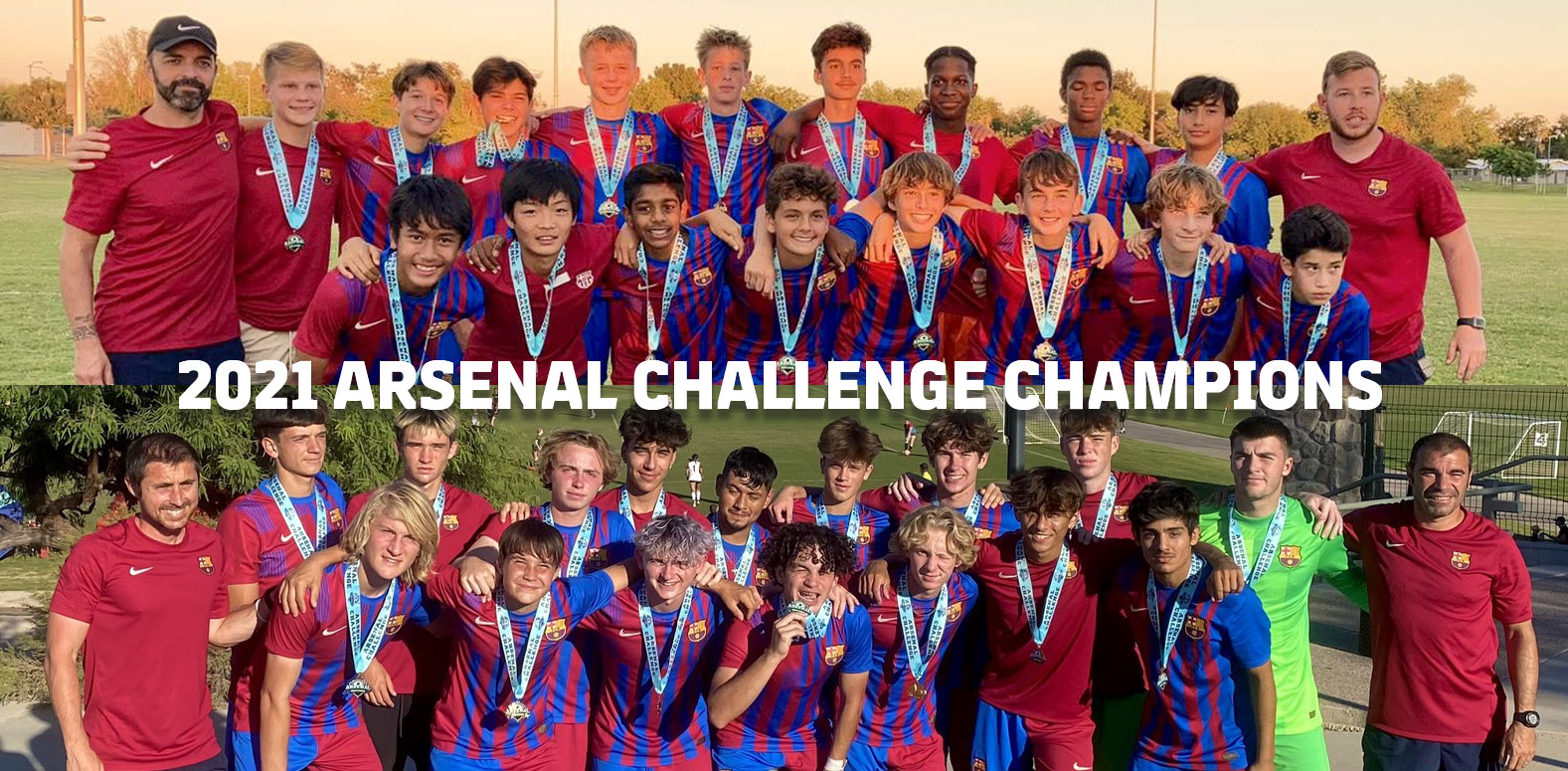 Group photos of Barca Residency Academy U-15 and U-19 teams after winning the 2021 Arsenal Challenge